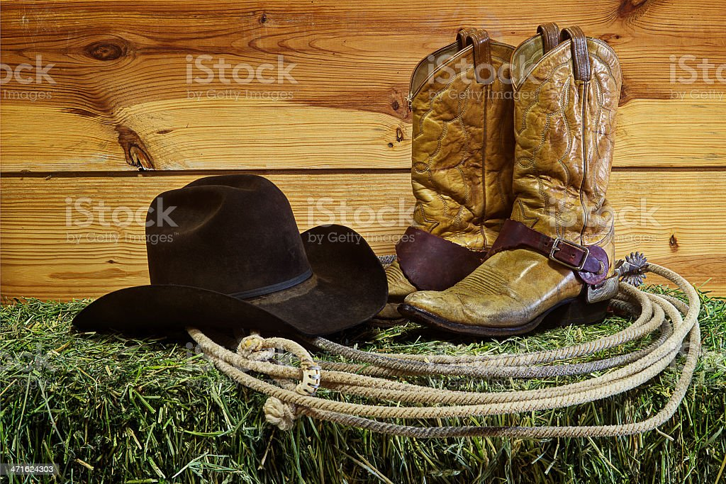 Ranch Gear on Hay Bale stock photo