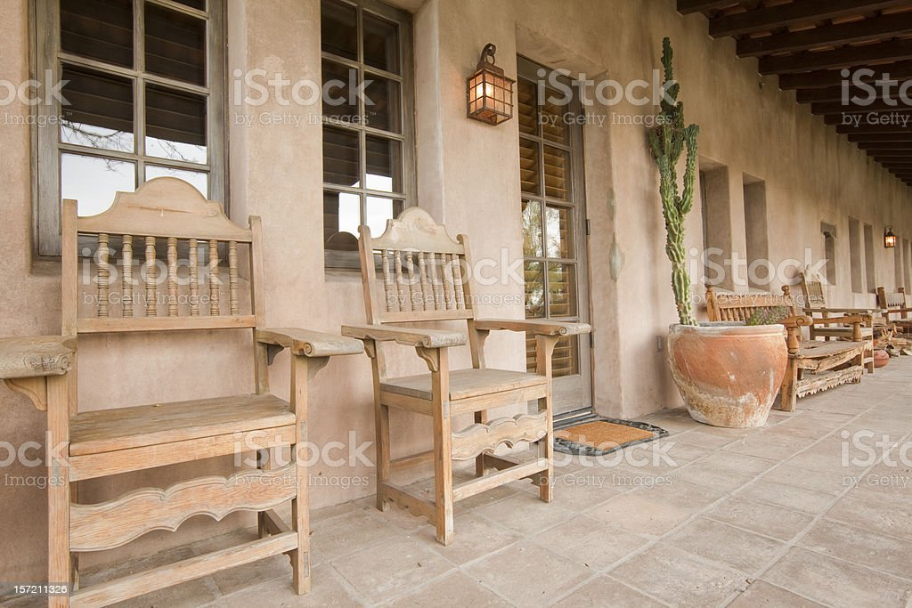 Ranch House Chairs on Porch royalty-free stock photo