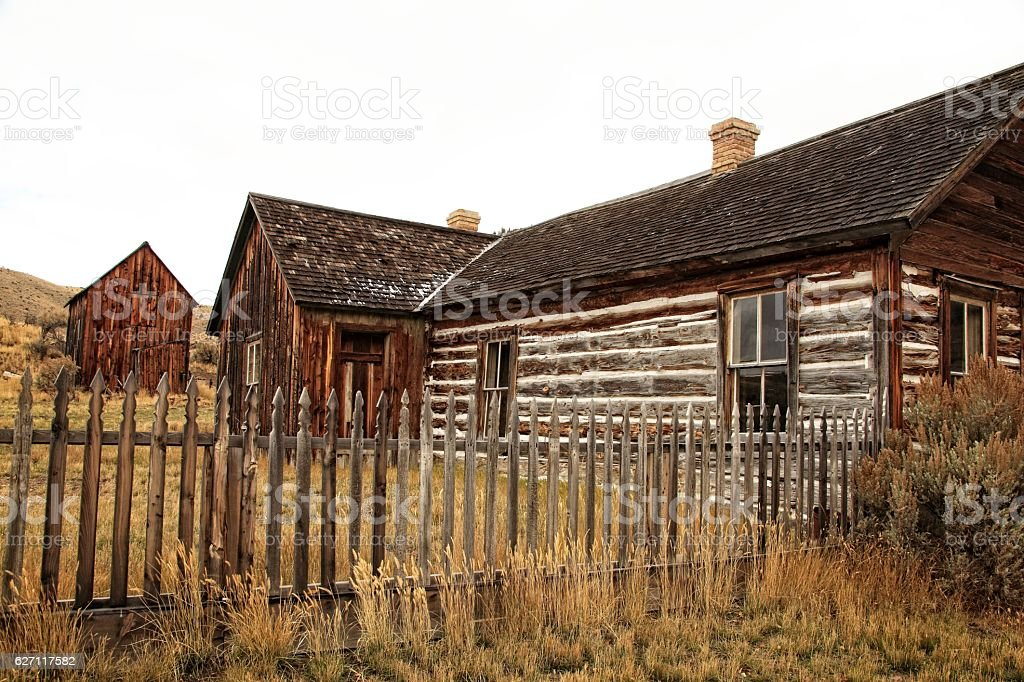 Ranch House in Ghost Town stock photo