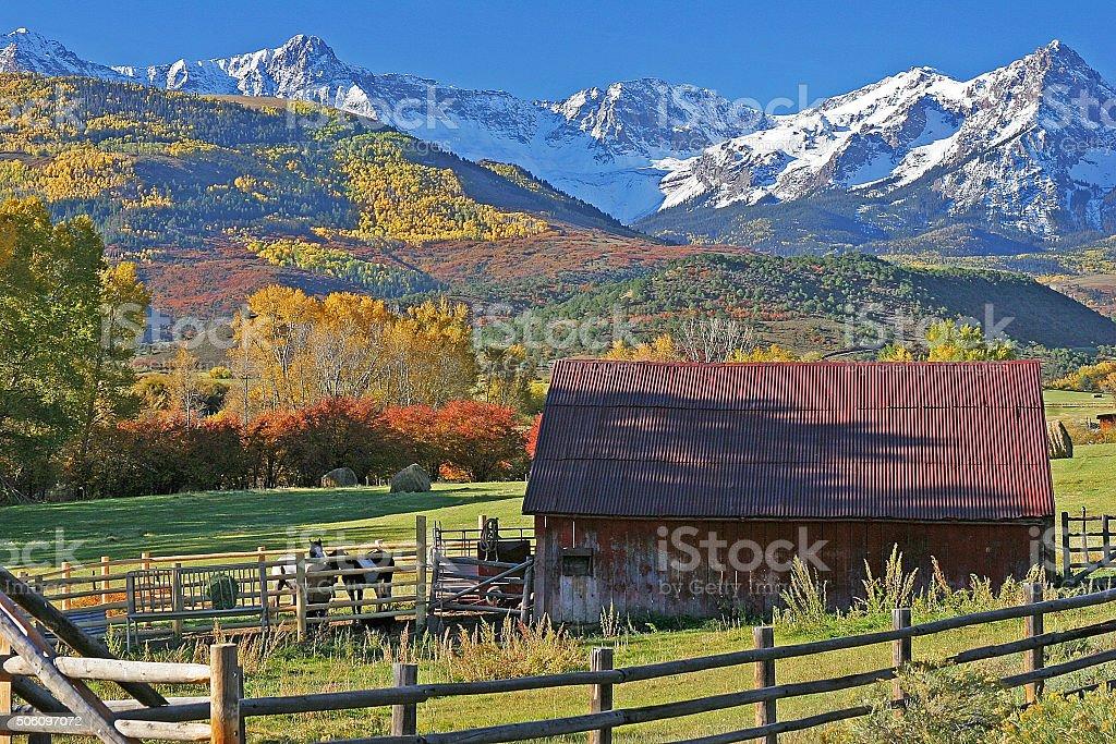 Ranch near the San Juan Mountains in Colorado stock photo