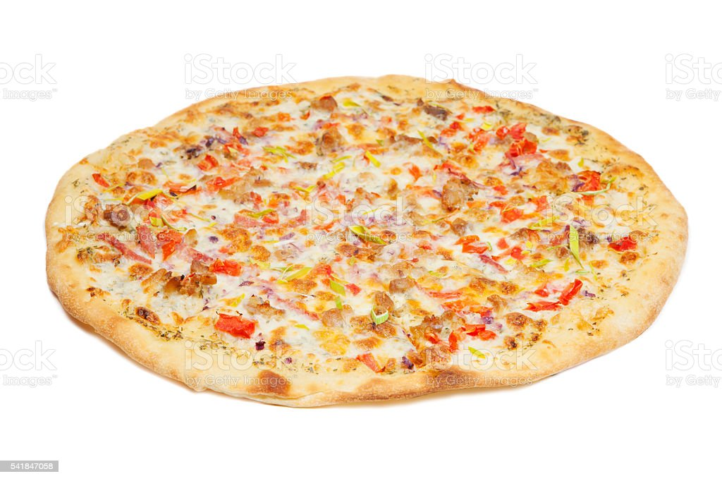 Ranch pizza isolated on white stock photo