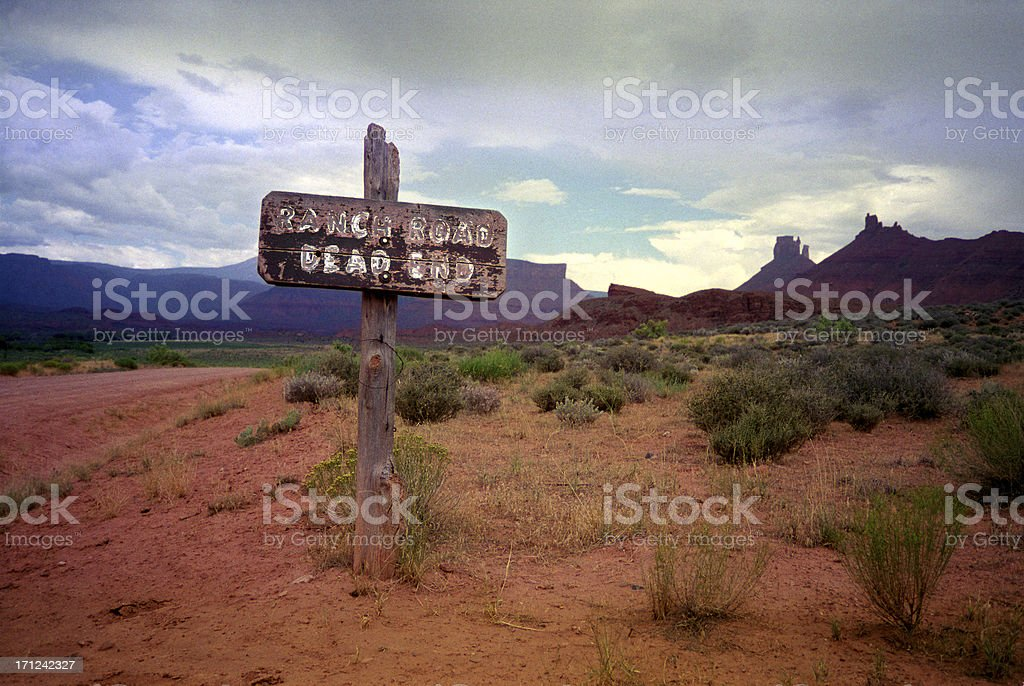 Ranch Road. Dead End. stock photo