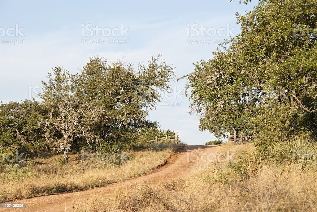 Ranch Road with Fence stock photo
