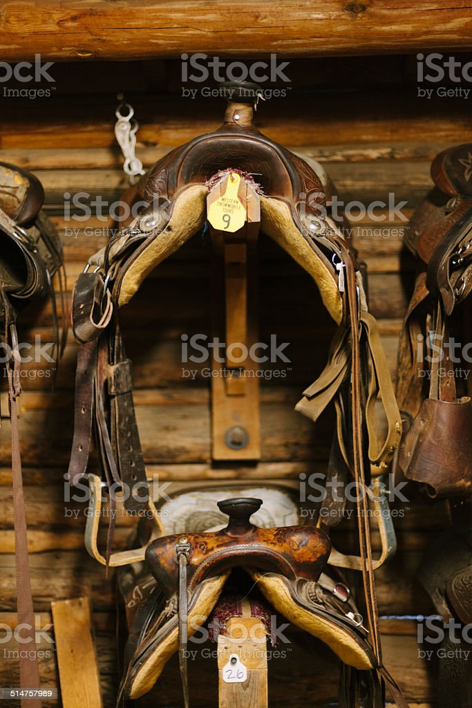 Ranch tack room stock photo
