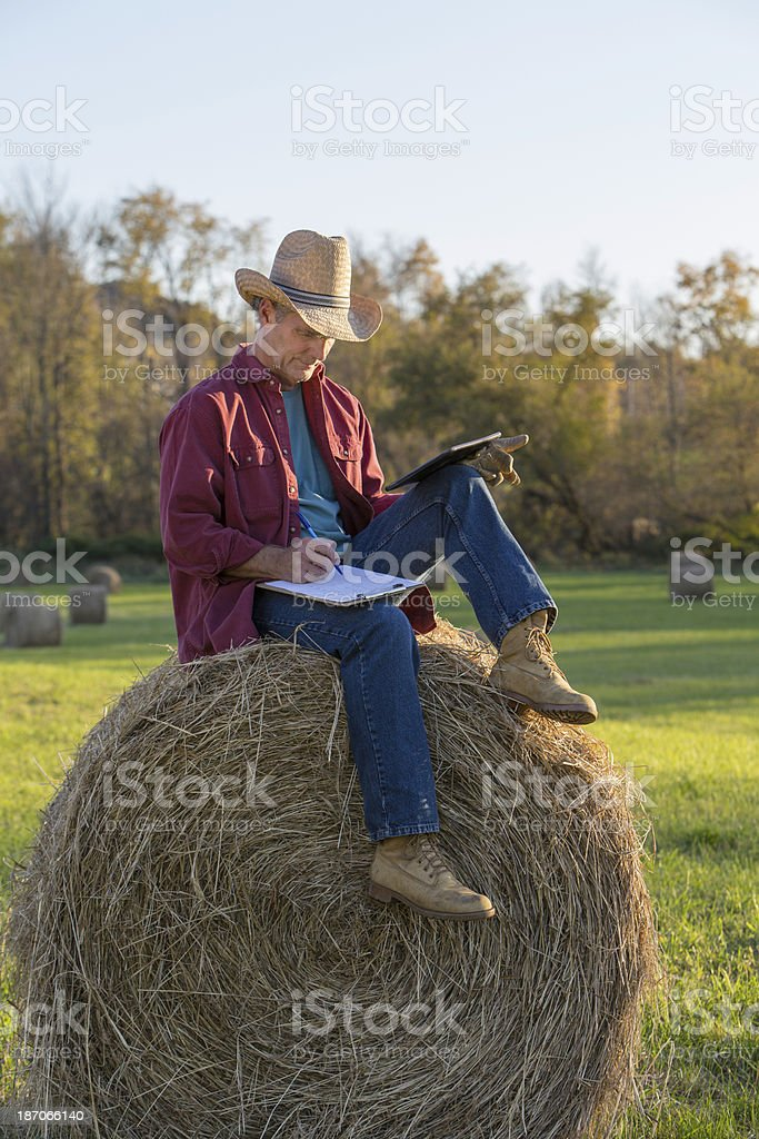 Ranch Worker Working with Digital Tablet royalty-free stock photo