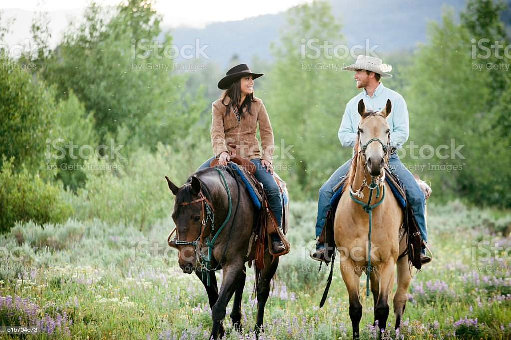 Rancher couple, Montana stock photo