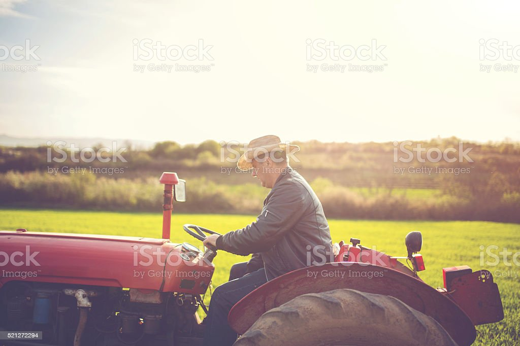 Rancher driving throuhg ranch stock photo