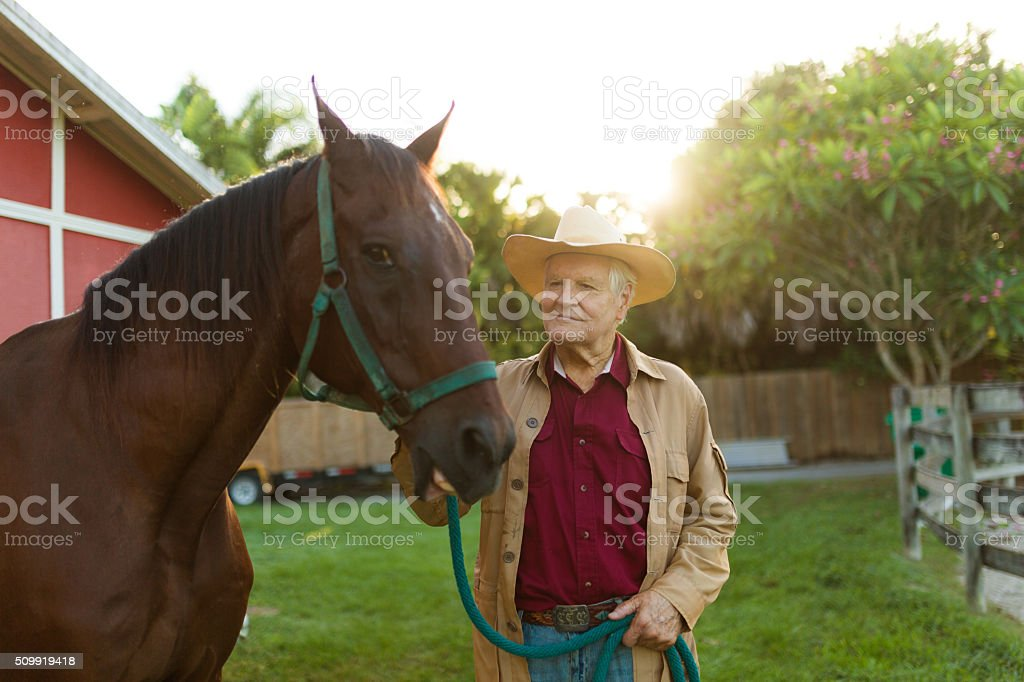 Rancher with horse stock photo