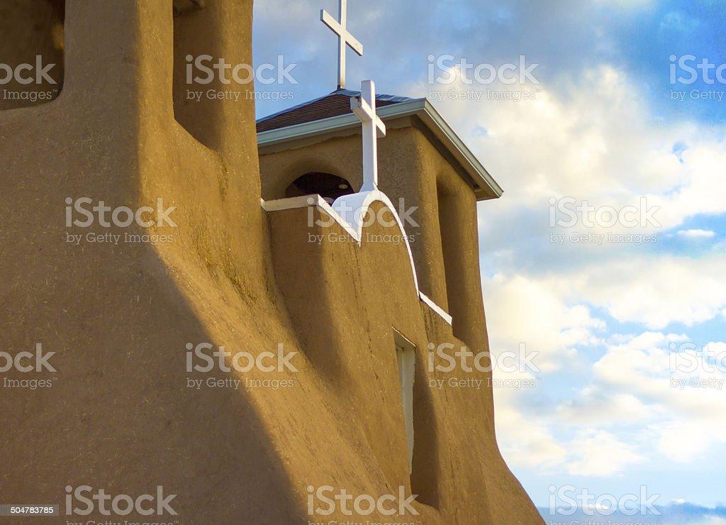 Ranchos de Taos Church in Early Morning Light stock photo