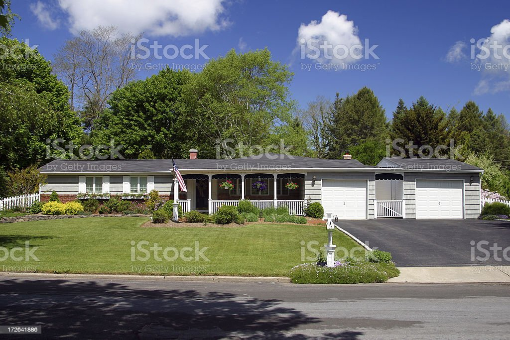 Ranch-Style Northeastern US Home royalty-free stock photo