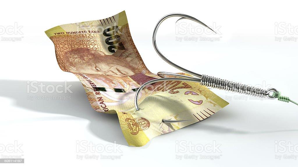 Rand Banknote Baited Hook stock photo