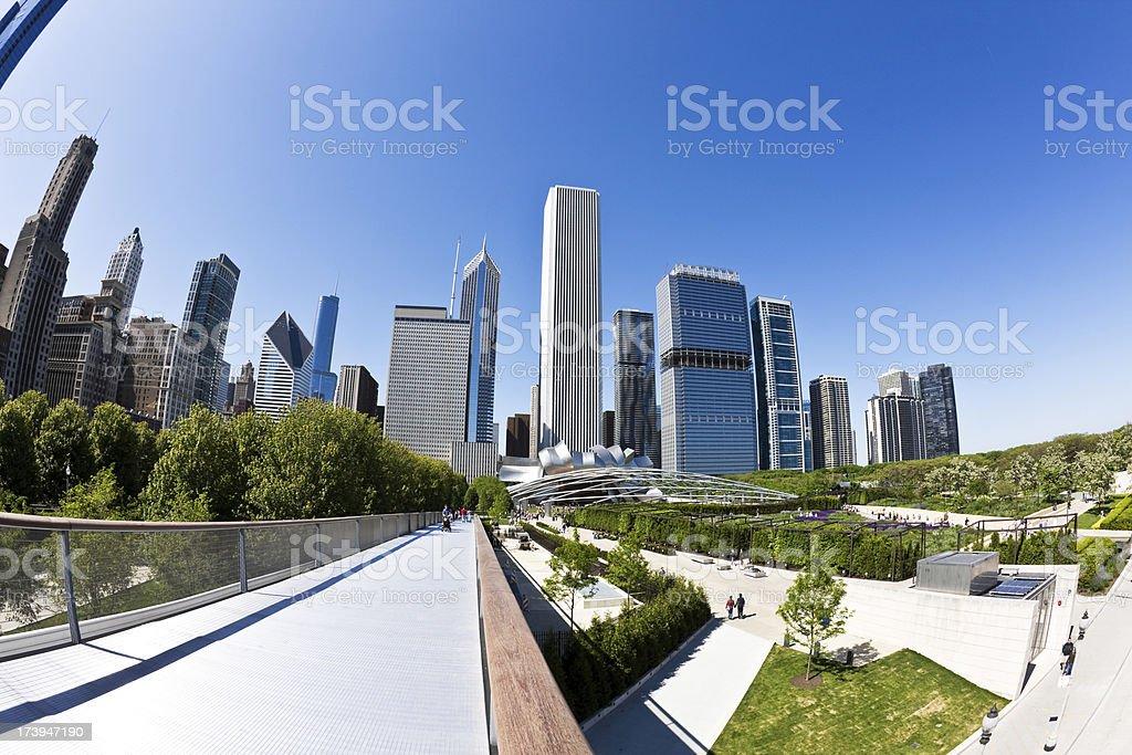 Randolph Street Skyscrapers in Chicago stock photo