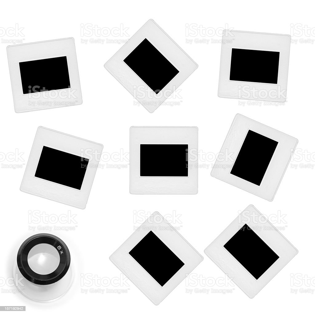 Random 35mm Slides with Loupe royalty-free stock photo