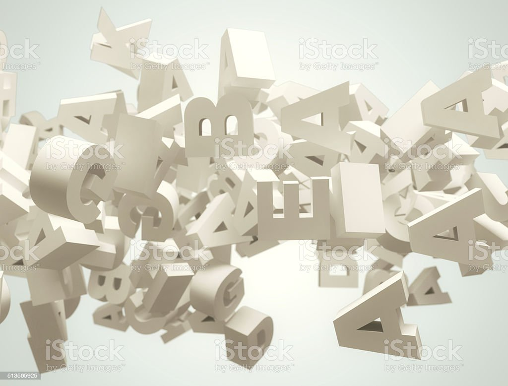 Random 3d letters flying stock photo