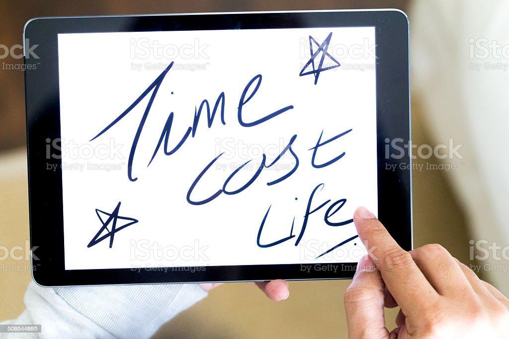 Random English Words on a Digital Tablet stock photo