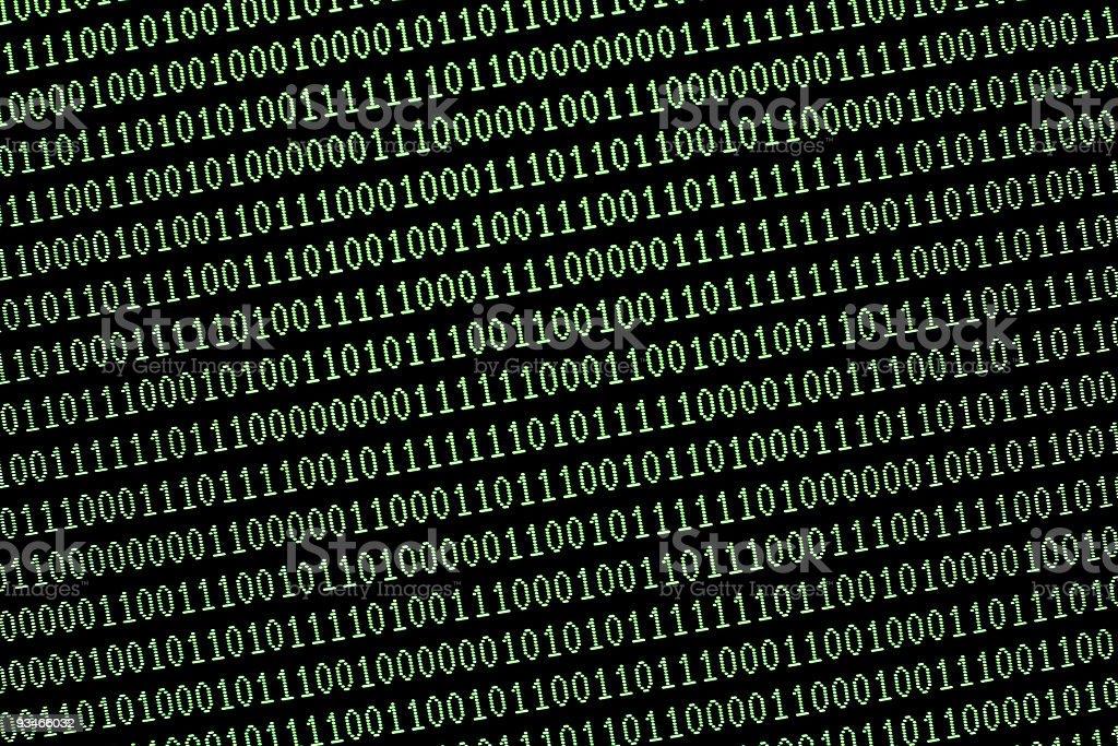 random green binary computer data code on monitor screen royalty-free stock photo