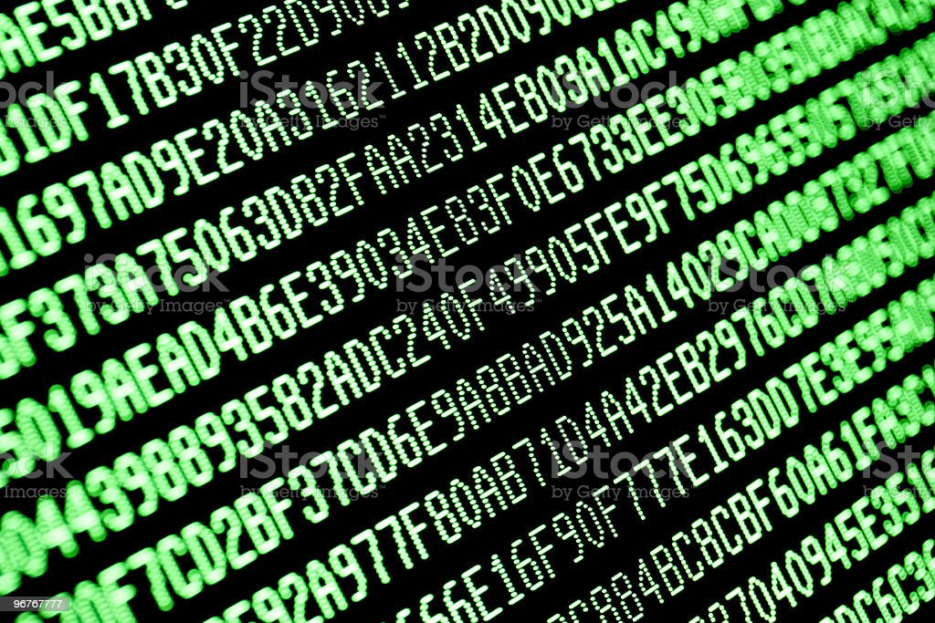 random green hexadecimal computer code data on monitor screen royalty-free stock photo