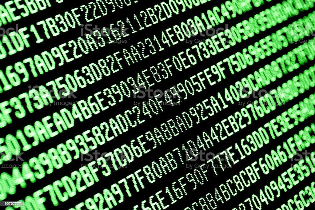 random green hexadecimal computer code data on monitor screen stock photo