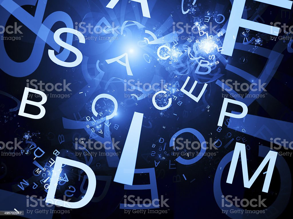 Random letters fractal abstract background royalty-free stock photo