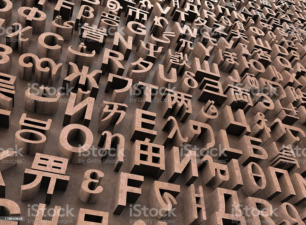 Random letters in many languages stock photo