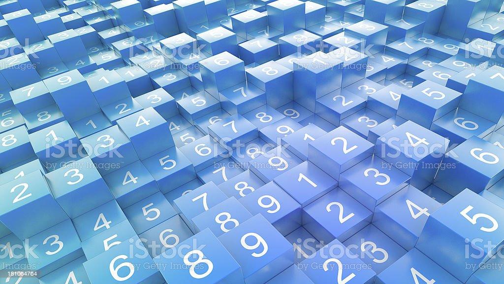 Random numbers on blue blocks royalty-free stock photo