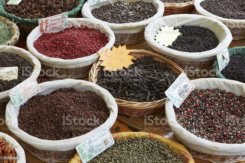 Random pepper spices stock photo