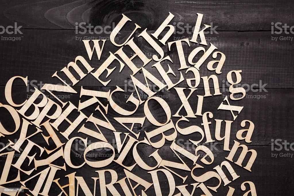 Random Wooden Letterpress Alphabet stock photo