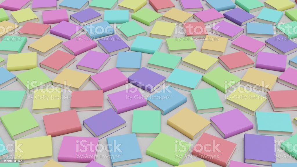 Randomly Rotated Pastel Colored Hard cover Books on Simple Floor stock photo