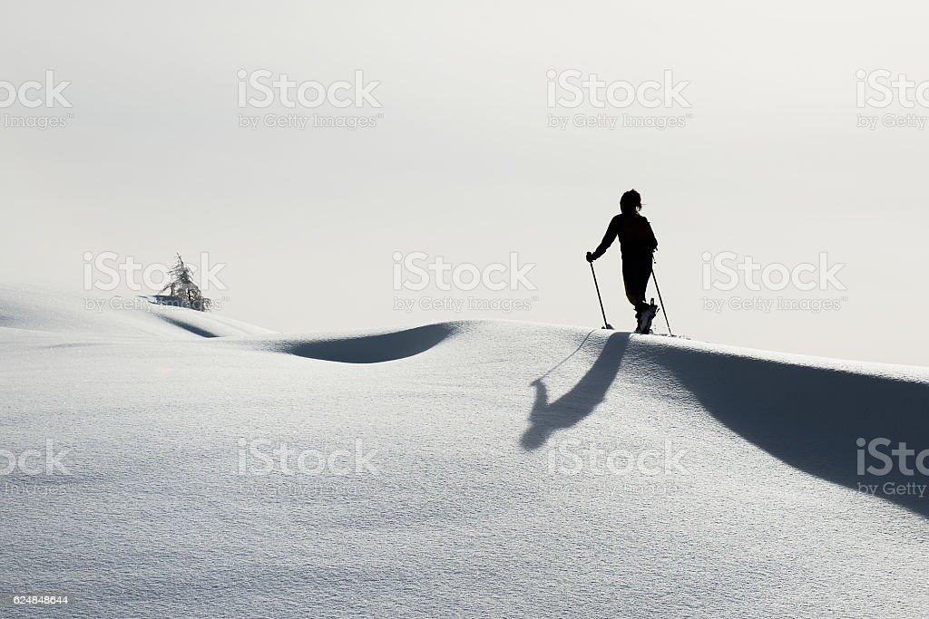 Randonnee ski trails alone stock photo