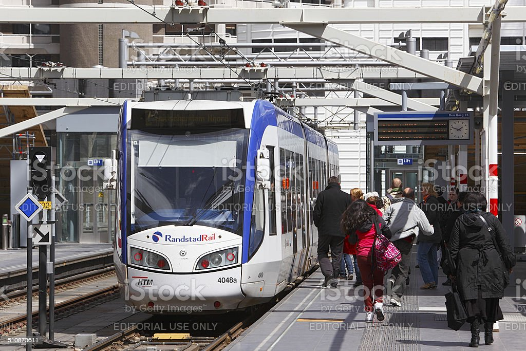 RandstadRail train-tram at The Hague Central Station stock photo