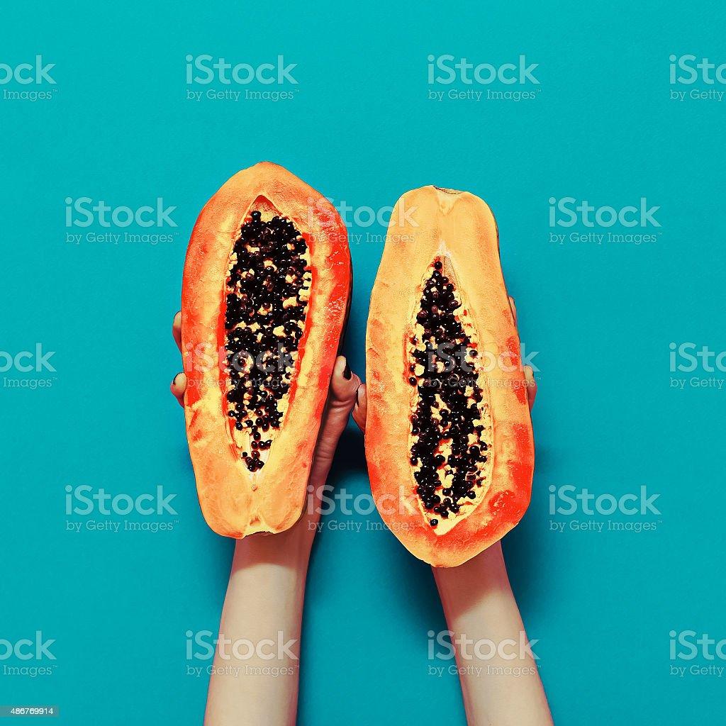 ?žrange color in the trend. Papaya fashion style stock photo