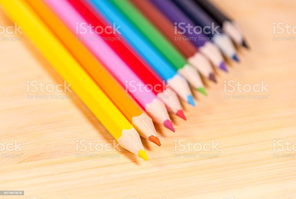 Range of coloring pencils - yellow focus stock photo