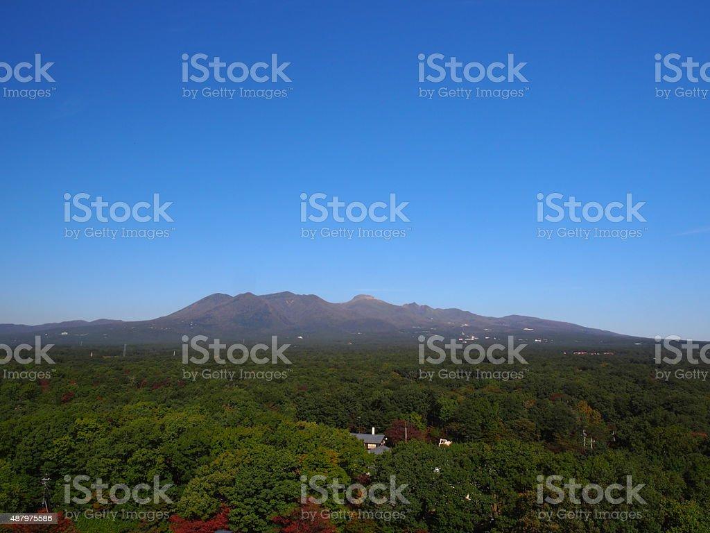 Range of Mountains in Nasu Highland stock photo