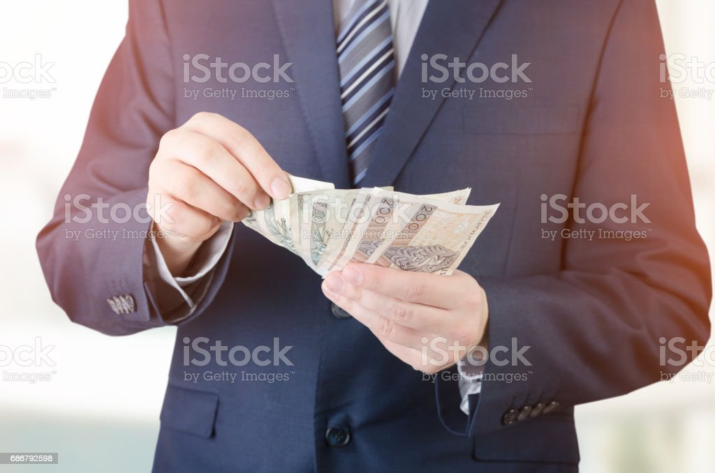 Range of Polish banknotes in businessman hand stock photo
