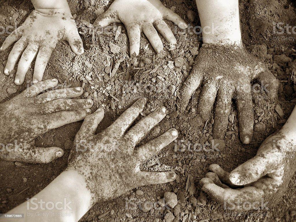 A range of young hands rummaging in dirt in brown tones stock photo