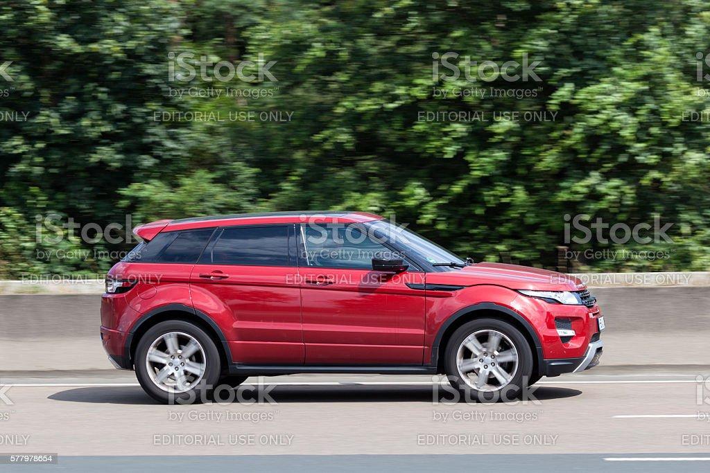 Range Rover Evoque on the road stock photo