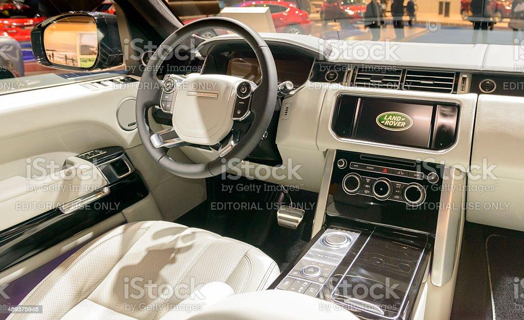 Range Rover luxury SUV interior stock photo