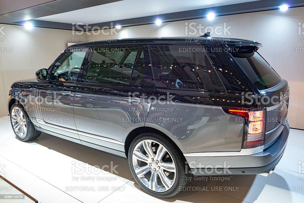 Range Rover offroad luxury SUV car stock photo