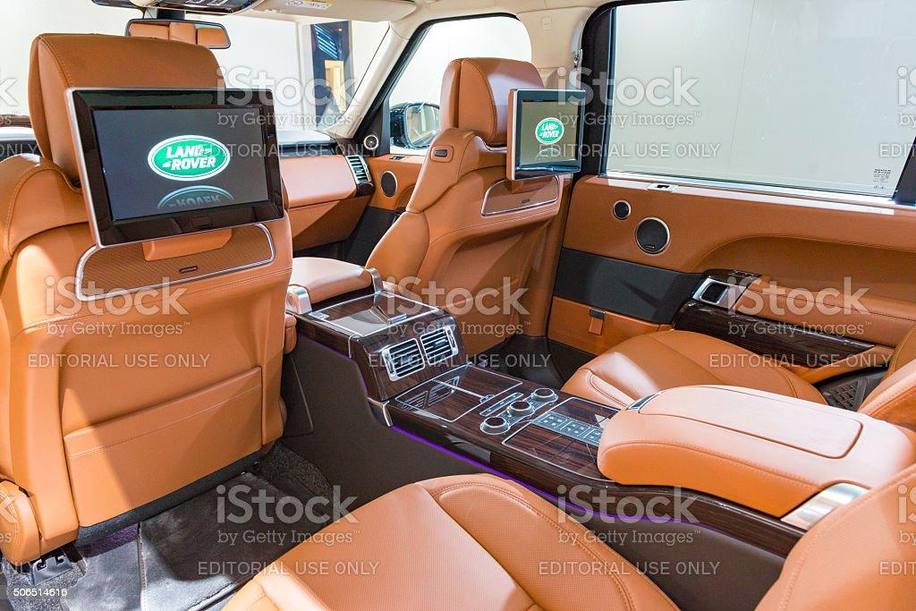 Range Rover offroad SUV car luxurious  interior stock photo