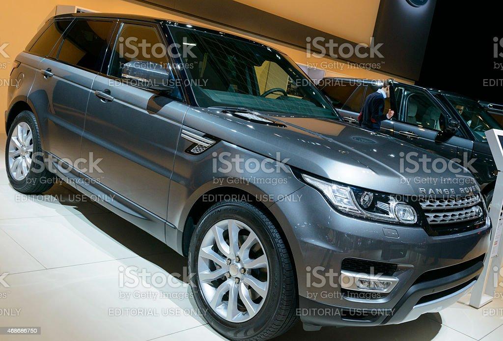 Range Rover Sport luxury SUV front view stock photo