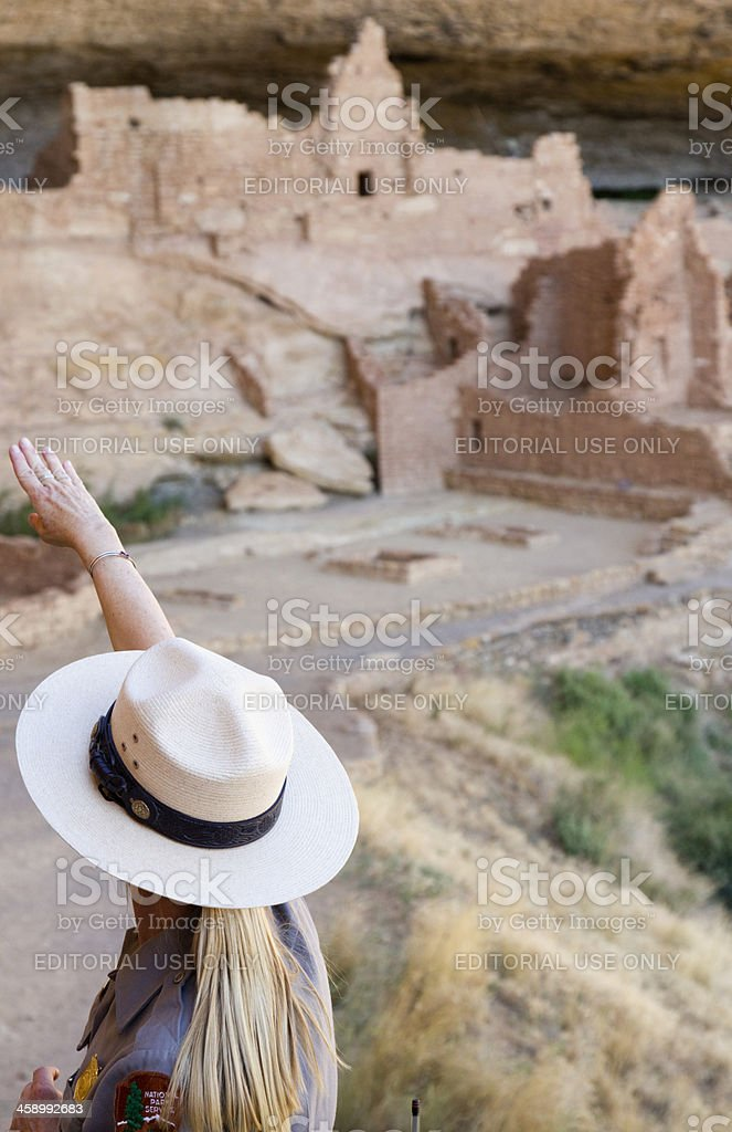 Ranger at Long House Ruins, Mesa Verde National Park stock photo