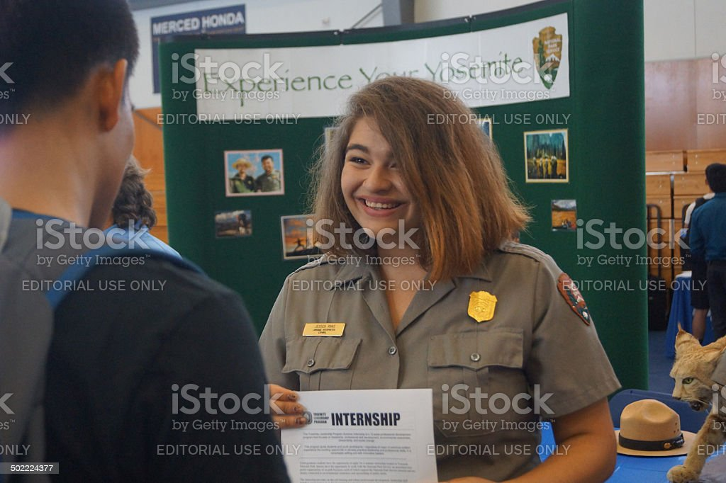 Ranger at UC Merced Internship Fair stock photo