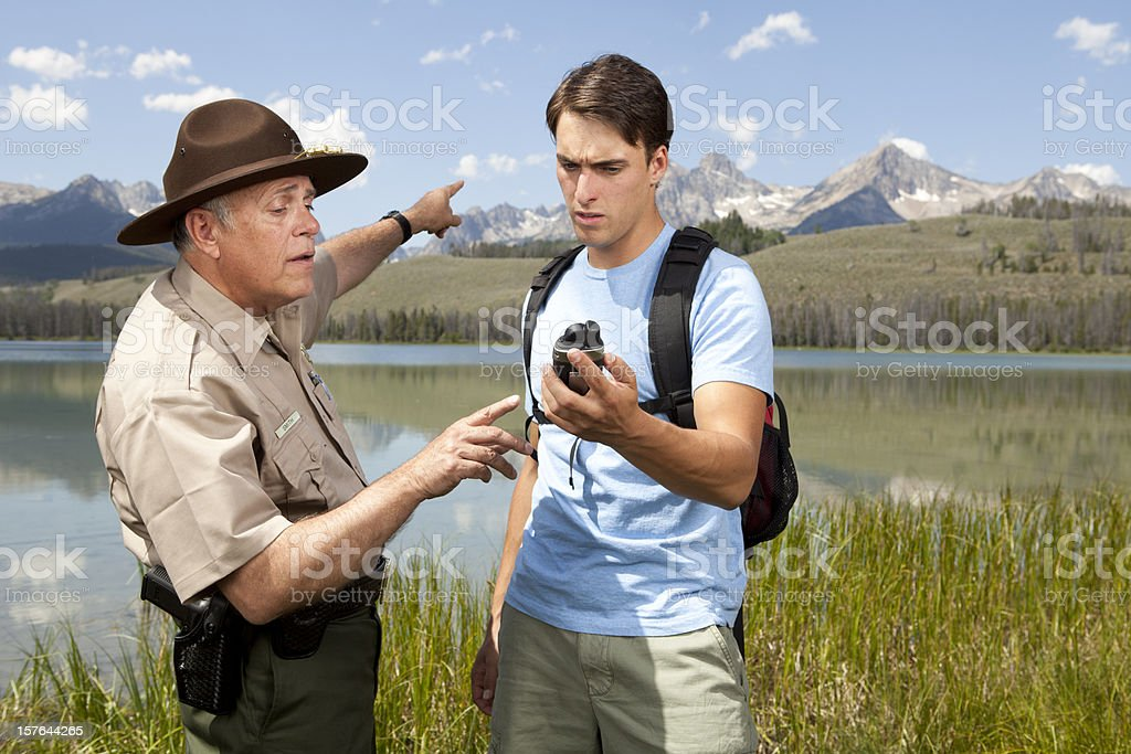 Ranger Helps Lost Campers stock photo
