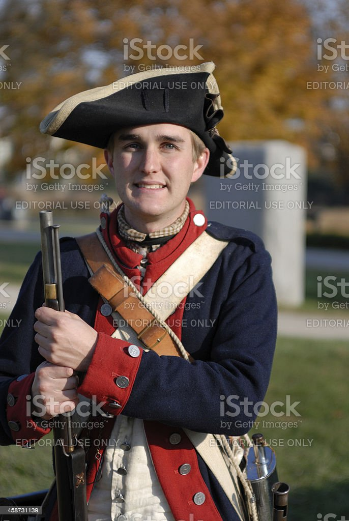 Ranger in Continental Army Uniform stock photo