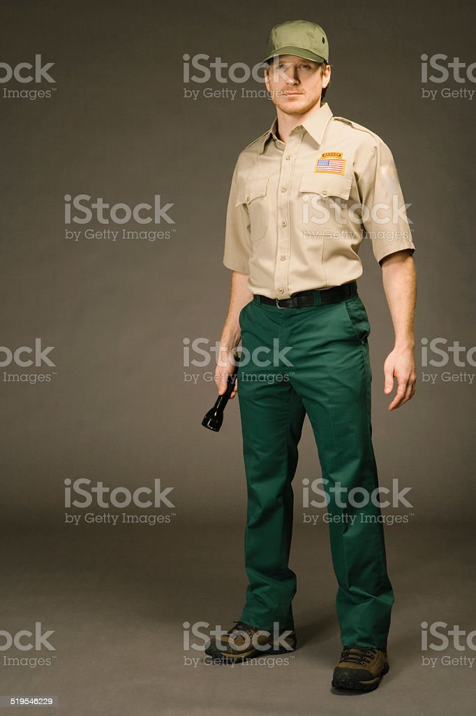 Ranger on black background, portrait stock photo