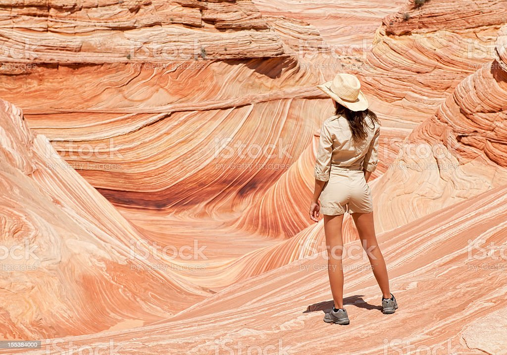 Ranger overlooking the Wave, Coyote Buttes stock photo
