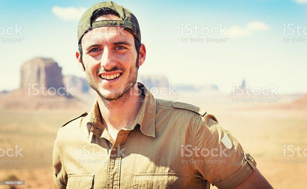 Ranger smiling on the Tribal National Park - Monument valley stock photo
