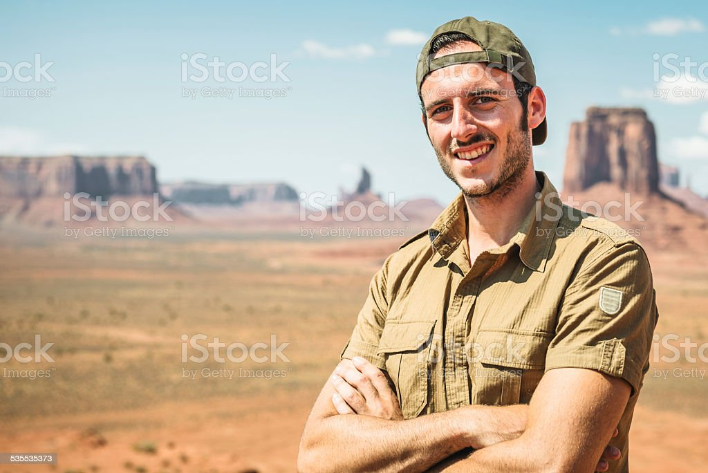 Ranger smiling on the Tribal National Park stock photo
