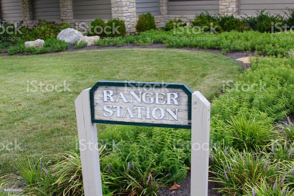 Ranger Station Sign stock photo