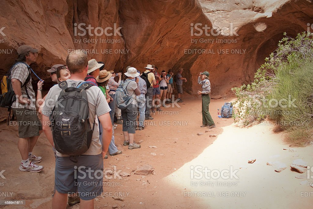 Ranger talking during a hike in Arches National Park stock photo